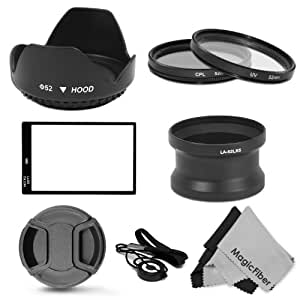 Essential Accessory Kit for PANASONIC LUMIX DMC-LX5 - Includes: 52MM Lens Adapter Tube + Tulip Flower Lens Hood + Filter Kit (UV, CPL) + LX5 Glass LCD Screen Protector + Center Pinch Lens Cap + Cap Keeper Leash + 2 MagicFiber Microfiber Lens Cleaning Cloths