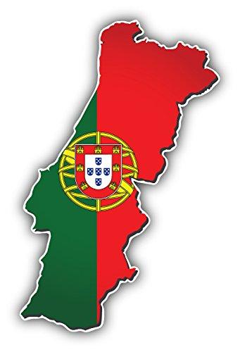 - Portugal Map World Flag Art Decor Bumper Sticker 3'' x 5''