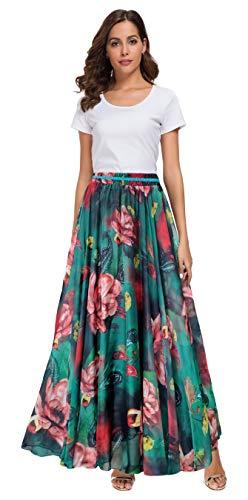 Afibi Women Full/Ankle Length Blending Maxi Chiffon Long Skirt Beach Skirt (XX-Large, Design G)