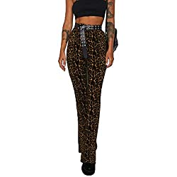 Moserian Womens Pants Animal Print Look Lady Long Leopard Snaks Pants High Waist Pants Coffee