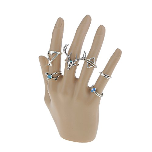 7pcs Joyería de Moda de Navidad Partido Fijado Boho Anillo del Dedo Astas para Mujeres