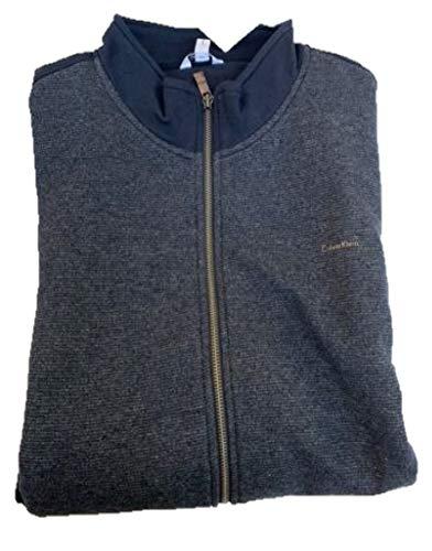 Calvin Klein Jeans Men's Full-Zip Fleece Mock Neck Sweatshirt Jacket (Cadet Navy, -