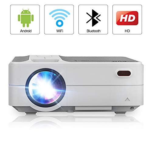 Portable Newest LCD Wi-Fi Bluetooth Home Projectors HD 1280x720p Native 3200 Lumen LED Smart TV Projectors Wireless HDMI Airplay YouTube Apps Support 1080P for Games Movies Slideshow Indoor Outdoor