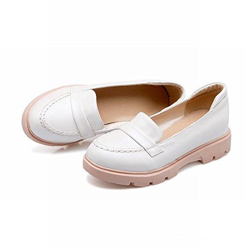 Carolbar Womens Sweet Cute Elegance Fashion Comfort Manchet Verborgen Hak Loafers Schoenen Wit