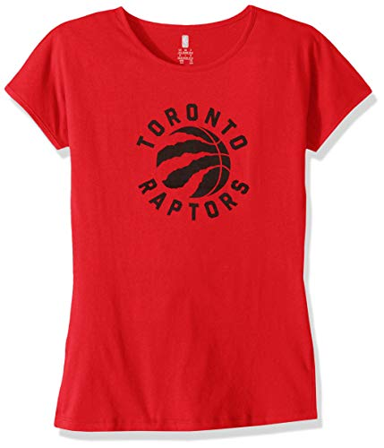 (Outerstuff NBA NBA Youth Girls Toronto Raptors Primary Logo Short Sleeve Dolman Tee, Red, Youth)