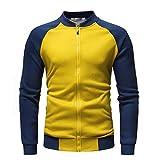 Men's Winter Long Sleeve Zip Up Patchwork Jacket