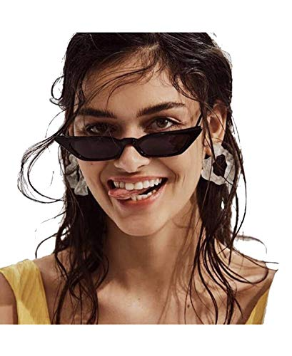 Small Frame Skinny Cat Eye Sunglasses for Women Colorful Mini Narrow Square Retro Cateye Vintage Sunglasses by W&Y YING ()