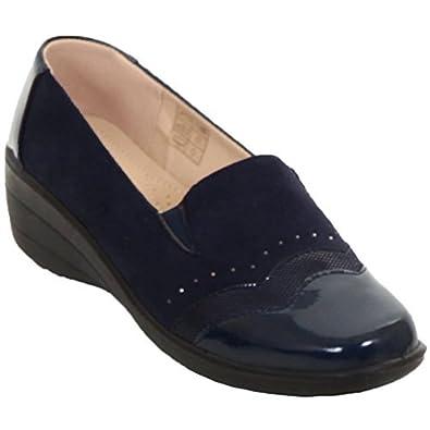 Zafiro Boutique De Charol para Dama Punta Tachuela Símil Ante pedrería Cuña Baja Zapatos SIN Cierres Mocasines - Azul Marino, 7 UK: Amazon.es: Zapatos y ...