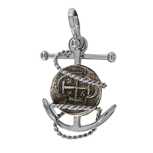 Replica Atocha Shipwreck Coin on a Detailed Fouled Anchor Pendant - Coin is 100% Genuine Atocha Silver, Available in 14k Gold or Sterling Silver Frame - Includes Certificate of Authenticity
