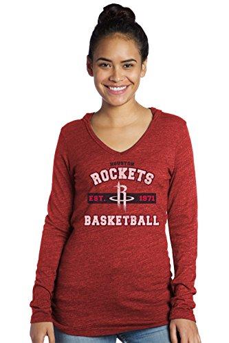 NBA Houston Rockets Women's Premium Triblend L/S V-Hoodie, XX-Large, Red