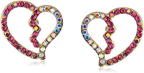 Johnson Crystal Pink Betsey - Betsey Johnson Women's Open Heart Stud Earrings, Pink, One Size