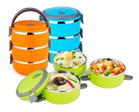 3ed5467623c Buy Samplus Mall 3 Layer Lunch Box Colored Stainless Steel Tiffin Vacuum  Insulated Hot Lunch Box (1 Piece) Online at Low Prices in India - Amazon.in