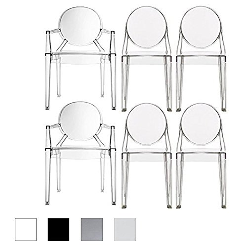 2xhome – Set of Six (6) - Clear - Modern Designer Ghost Style Chairs - Two (2) Louis Ghost Armchairs W/arm - And Four (4) Armless Victoria Ghost Side (6 Arm Chair Set)