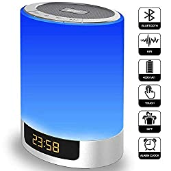 Alarm Clock with Bluetooth Speakers, Kids Night Light Touch Sensor LED Color Bedside Lamp, Portable Wireless MP3 Music Player for Bedrooms, Party, Gifts