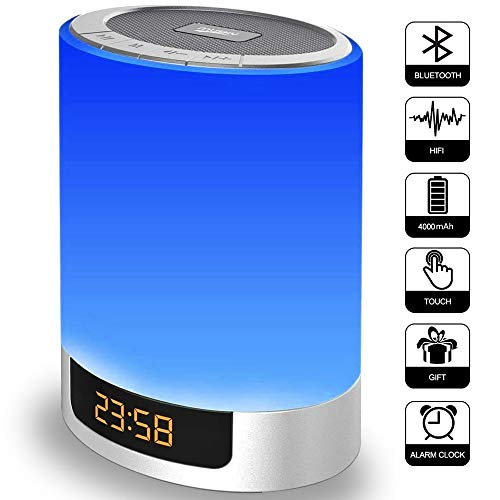 Alarm Clock with Bluetooth Speakers, Kids Night Light Touch Sensor LED Color Bedside Lamp, Portable Wireless MP3 Music Player for Bedrooms, Party, -