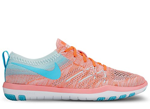 Nike Women's Free Transform Flyknit Training Shoes (8 B(M) US, Bright Melon/Polarized Blue) by NIKE