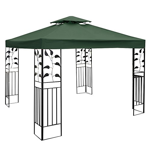 Tangkula 10'x10' Canopy Cover Outdoor Patio Gazebo Replacement Top Cover Wedding Party Event Tent Cover Heavy Duty Durable Waterproof Sun Snow Rain Shelter 1-Tier or 2-Tier 3 Color (2-Tier, DGN) (Tier Gazebo 2)