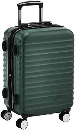 Amazon Basics Premium Hardside Spinner Suitcase Carry-On Luggage with Wheels - 20-Inch, Green