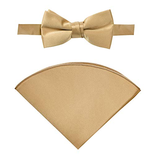 - Spring Notion Boys' Satin Bow Tie and Handkerchief Set Small Antique Gold