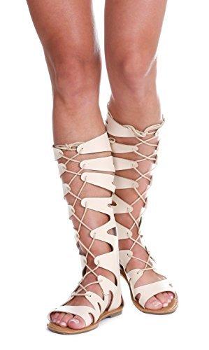 Islana Mid-Calf Gladiator Lace-Up Flat Sandals- Beige 8
