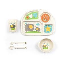 Tiny Footprint 63071 5-Piece Bamboo Toddler Feeding Set, Elephant Print