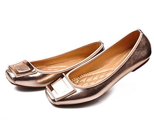 MEILI Frauen Metall Schnalle Quadrat rutschfeste flache Schuhe große Mutter Schuhe 1
