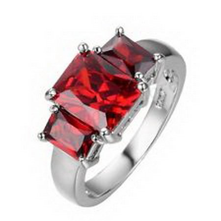jacob alex ring Garnet Red Ruby CZ Women's Promise Ring 10KT White Gold Filled Size 9 Jewelry