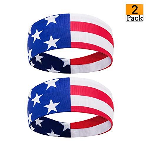 - USA Sports Headbands American Flag Bandana Headbands Moisture Wicking Sweatbands for Men & Women