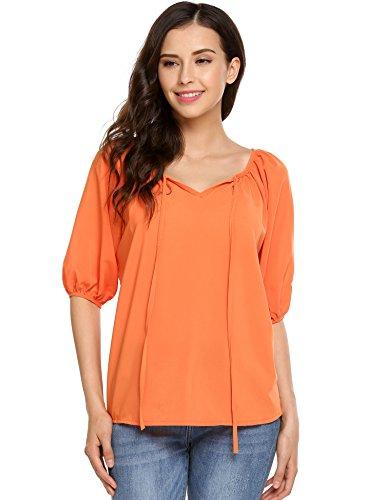 Zeagoo Women Casuel Chiffon Blouse V Neck Short Sleeve Tie-Front Peasant Top Shirt (X-Large, Orange)