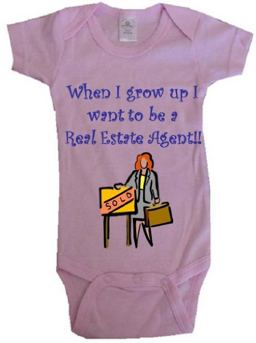 WHEN I GROW UP I WANT TO BE A REAL ESTATE AGENT - BigBoyMusic Baby Designs - Pink Baby One Piece Bodysuit - size Newborn ()