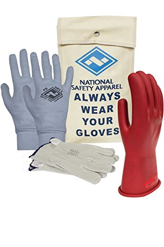 National Safety Apparel Class 0 Red Rubber Voltage Insulating Glove Premium Kit with FR Knit Glove and Leather Protectors, Max. Use Voltage 1,000V AC/ 1,500V DC (KITGC009RAG) by National Safety Apparel Inc