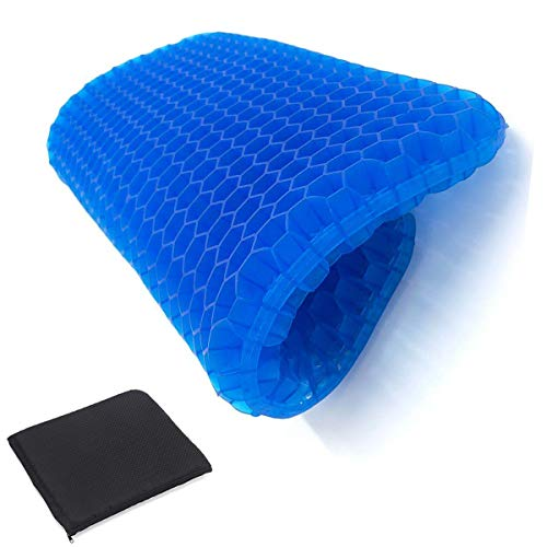 Comfort Gel Seat Cushion for Long Sitting,Desk Chair Cushion for Pressure Relief,Orthopedic Breathable Gel Sits Perfect for Gaming Chair, Recliner, Hip Pain, Wheelchair Sweat Resistant Chair Pads