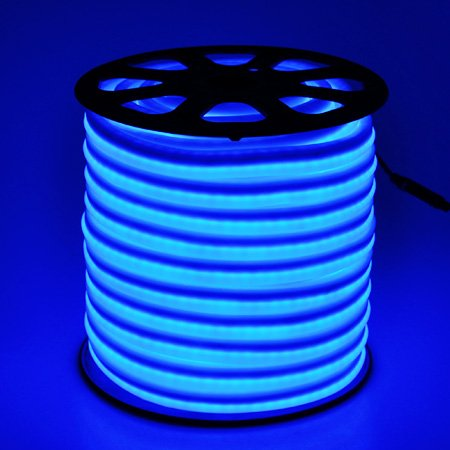 150' Flex LED Neon Rope Light Blue Holiday Decorative Lighting Flexible Cool Illuminated LED Neon Rope Tube Light 50-foot 1200 Bulbs w/ Power Cord Connectors Holiday Home Bar Commercial Outdoor by Generic