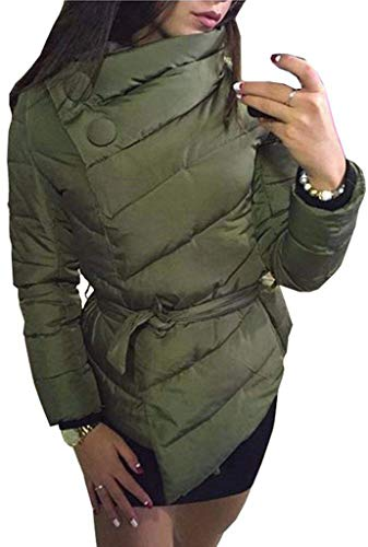 Huixin Plumas Mujer Fácil Invierno Caliente Abrigo Acolchado Elegante Colores Sólidos Asimetricas Modernas Transición Casuales Stand Cuello Manga Largo Parka Chaqueta Acolchada con Cinturón Armygreen
