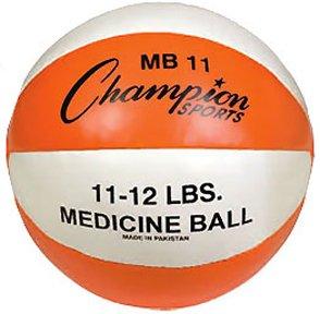 Champion Sports Leather Medicine Ball (Orange/White, 11-12 lbs)