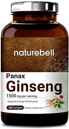 Organic Korean Red Panax Ginseng Extract 1500mg, 180 Liquid Softgels, Strongly Support Energy Performance, Immune System and Energy, Non-GMO and Made in USA (Best Ginseng For Men)