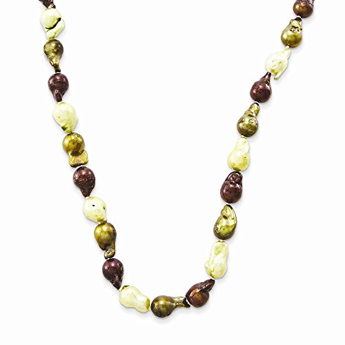 - Jewelry Necklaces Pearls Brown, Olive and Cream 10-10.5mm FW Cultured Baroque Pearl Necklace