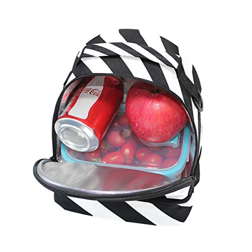 para el de negras de de con rayas hombro para ajustable blancas la Bolsa escuela FOLPPLY pincnic con y correa almuerzo aislante X7qS5zwO