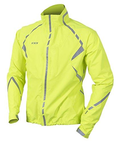 WOWOW Regenjacke Commuter Gelb - Fahrradjacke - Herren Damen - Wasserdicht Jacket - Hohe Sichtbarkeit - wassersäule 8000mm - atmungsaktiv 5000gr/m²/24u