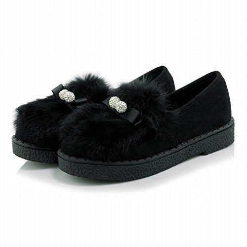 Latasa Dames Faux Fur Slip Op Platte Winter Instappers Schoenen Zwart