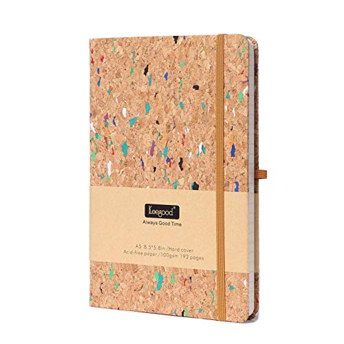 Notebooks and Journals, A5 Ruled Journal, Writing Journal with Pen loop, Thick Paper Journal, Hard Cover Notebook with Paper Pocket , 8.5x 5.8In,Wood Color, Premium Thick 192 Pages for School Season (Hardcover College Ruled Journal)