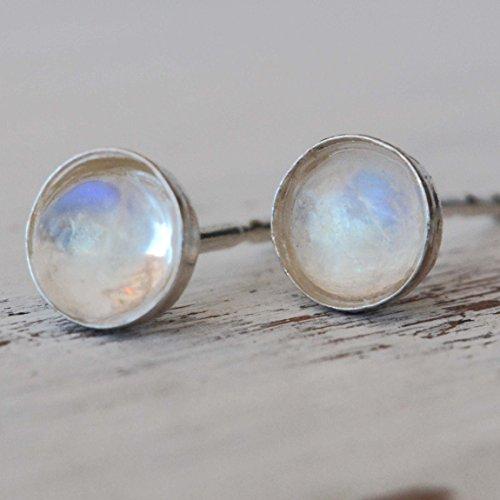 Moonstone earrings sterling silver Stud Earrings 4mm Tiny earring studs for women