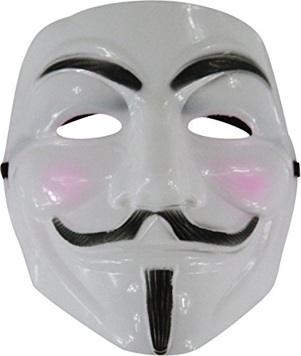Adult White Guido Guy Fawkes V Anarchist Anonymous Mask Costume (Guido Halloween Costumes)