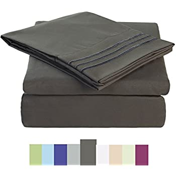 Bed Sheet Set - Microfiber Bedding Deep Pockets sheets 4 pc by Maevis (Dark Grey,Queen)