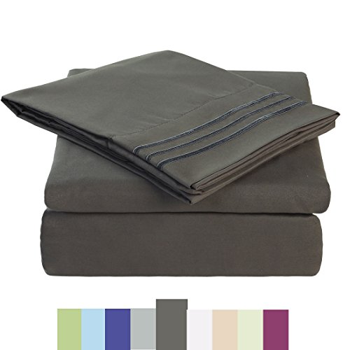 Price comparison product image Bed Sheet Set - Microfiber Bedding Deep Pockets sheets 4 pc by Maevis (Dark Grey,Queen)