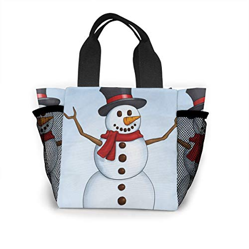 Designer Station Snowman Lunch Bag for Boys Girls Kids Women Insulated Thick Lunch Tote Bags with Shoulder Strap Lunchbox Handbag Food Bento Boxes Container for Work School ()