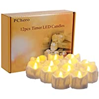 PChero Timer Candles, 12pcs Battery Operated LED...