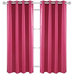 Deconovo Solid Blackout Curtains Thermal Insulated Curtains Grommet Top Room Darkening Curtains for Bedroom 52W x 63L Inch Fuchsia 1 Pair