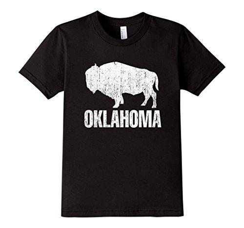 Tee Oklahoma - Kids Distressed Oklahoma State And American Buffalo Bison T-shirt 10 Black