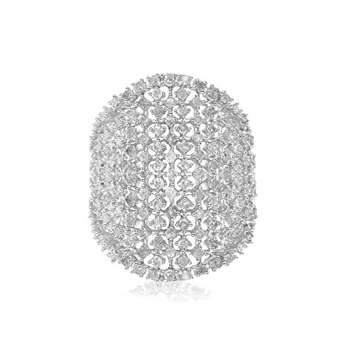 - Jewelspaark 1.55 ct 100% Natural White Round Diamond 925 Siver Wide Mesh Cocktail Ring (7)